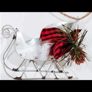 Farmhouse Rustic Metal Sleigh Christmas Ornament